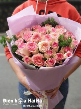 Bó hoa chúc mừng hoa hồng song hỷ