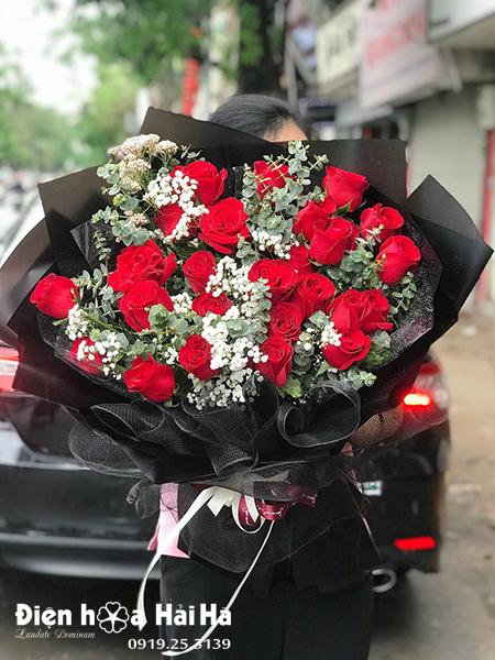 Bó hoa chúc mừng hồng đỏ