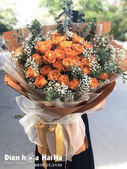 Bó hoa sinh nhật hồng cam