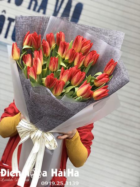 Bó hoa sinh nhật tulip cam 30 bông