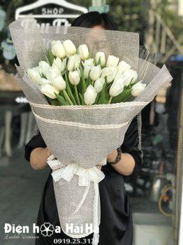 Bó hoa sinh nhật tulip trắng 30 bông