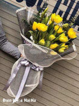 Bó hoa sinh nhật tulip vàng 15 bông