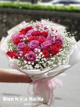 Bó hoa chúc mừng Hồng đỏ hồng tím chân tình