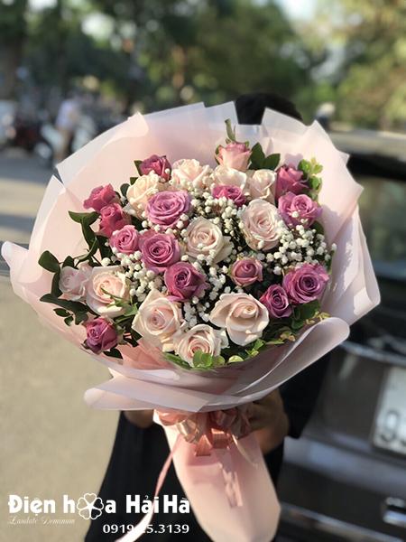 Bó hoa chúc mừng hồng tím hồng phấn