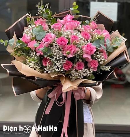 Bó hoa tặng sinh nhật hồng