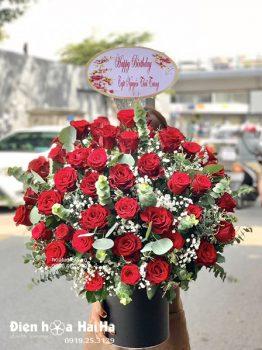 Giỏ hoa hồng đỏ đẹp