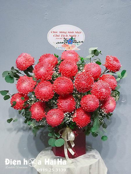 Giỏ hoa chúc mừng cúc mẫu đơn hồng