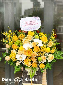 Giỏ hoa chúc mừng hồng vàng Summer Love