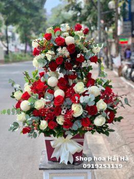 Giỏ hoa chúc mừng hồng đỏ - Hạnh Phúc