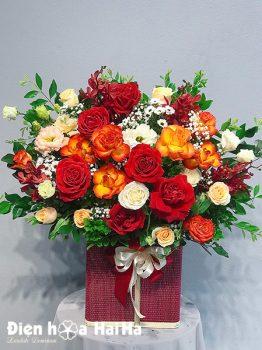 Giỏ hoa sinh nhật màu cam