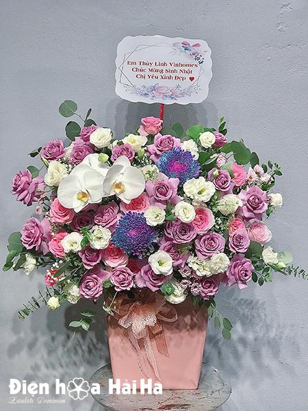 Giỏ hoa chúc mừng hồng tím Đam Mê