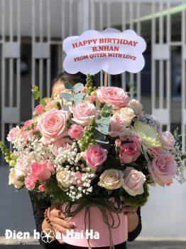 Hộp hoa chúc mừng hồng Ohara Thơm
