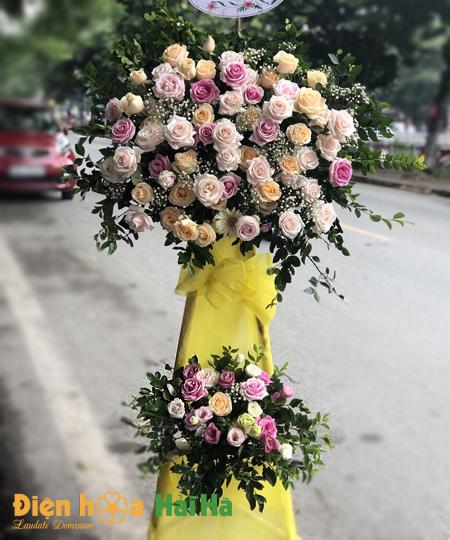 Lẵng hoa khai trương giá rẻ hoa hồng 2 tầng