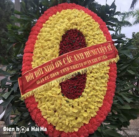 Mẫu 1: (#HV-187VN) Vòng hoa viếng nghĩa trang liệt sỹ 27-7. Giá: 700.000 ₫. LH: 0919253139 (Zalo & Viber).